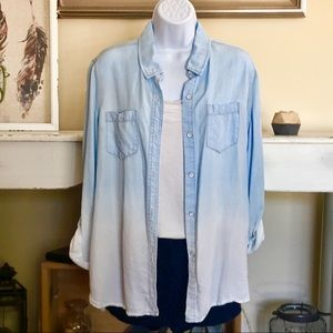 THREAD &SUPPLY Chambray Ombré Button Down Top